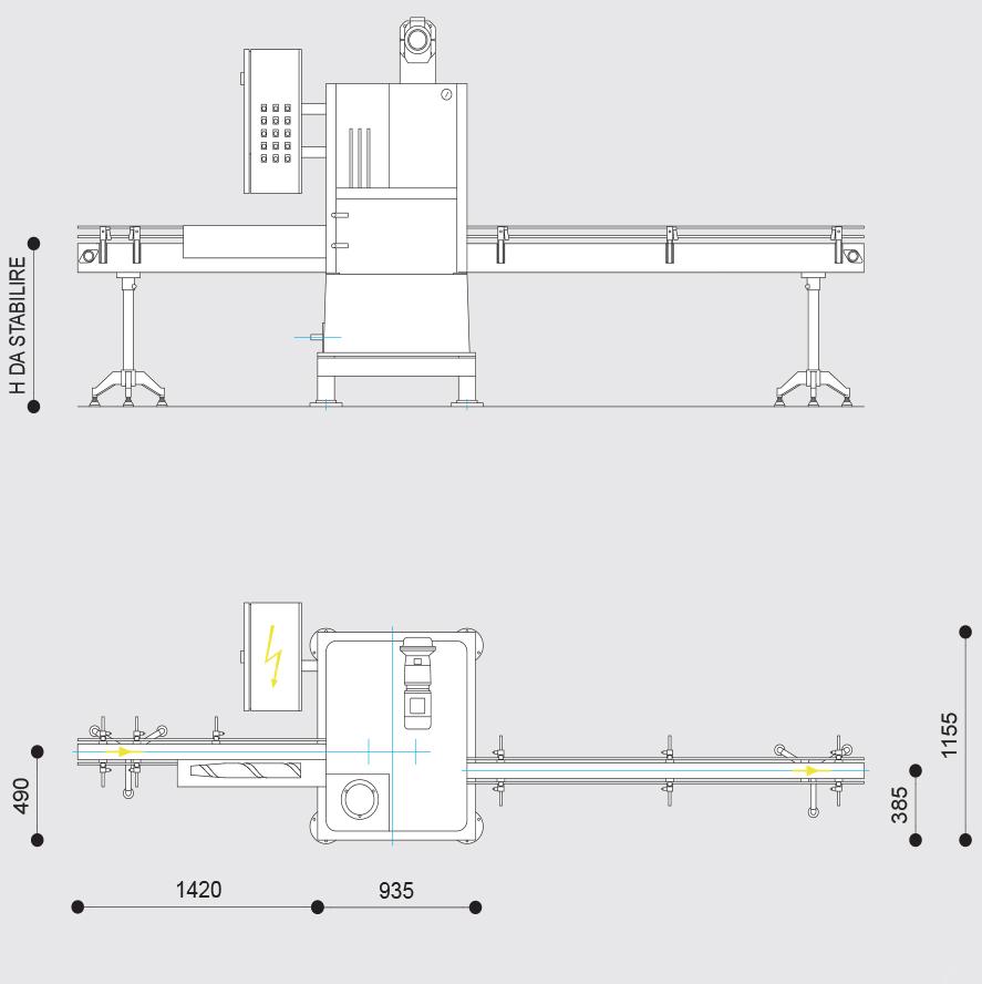 quote, dimensioni, altezze aggraffatrice industriale automatica BONICOMM B120 e F120 da 30 a 90 cpm