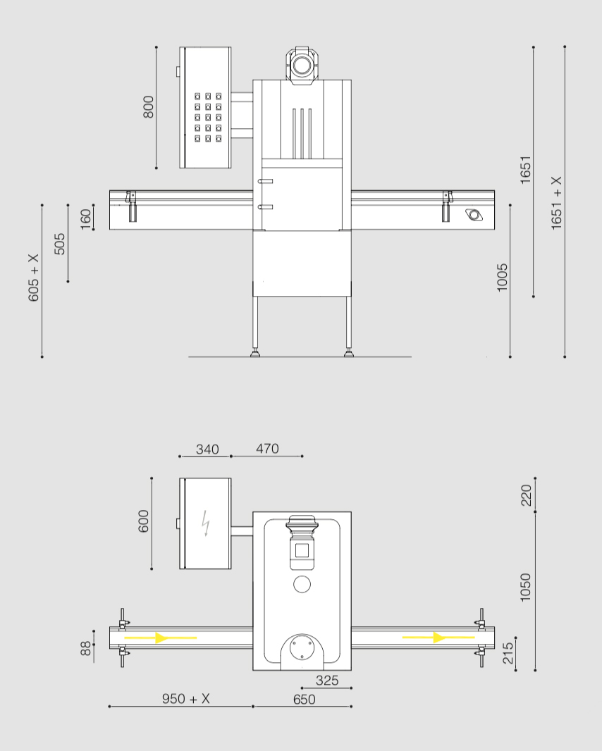 Dimensions and heights for the B40L automatic seamer Bonicomm